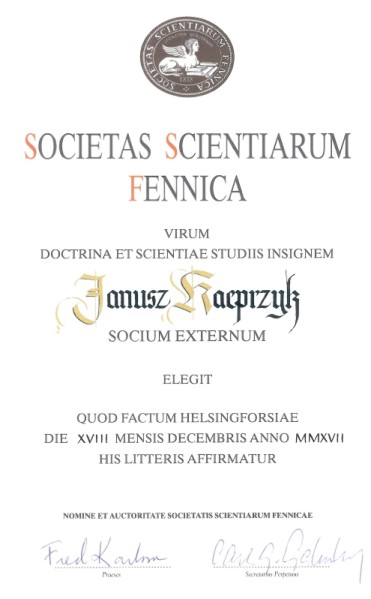 Dyplom Janusz Kacprzyk – Finnish Society of Sciences and Letters