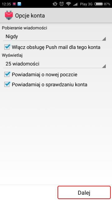 K9 Mail – konfiguracja konta WIT