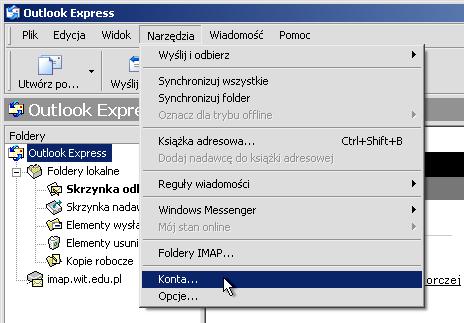 c1d135a93b2c08 Uruchamiamy Outlook Express; W oknie programu wybieramy menu Narzędzia >  Konta…