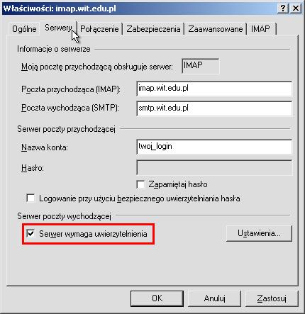 4cc687992d5aa9 Klikamy zakładkę Serwery i zaznaczamy opcję Serwer wymaga uwierzytelnienia  dla serwera poczty wychodzącej .