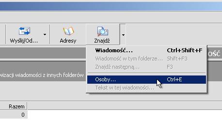 0c6290995fd80d W oknie Outlook Express klikamy w znak trójkąta przy ikonie Znajdź.  Wybieramy z menu Osoby…. Możemy także nacisnąć kombinację klawiszy CTRL+E .